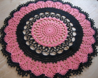 New, Crochet, table decor, lace doily, made by Demet, black and coral color, fabulous looking, ships free in the U.S. table center