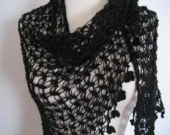Lacy Shawl, scarf, wrap,black, love knot, sparkly, fancy,hand crocheted, sooooooo beautiful, new