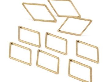 Diamond Earring Finding, 50 Raw Brass Diamond Connectors (13x23mm) Bs 1128