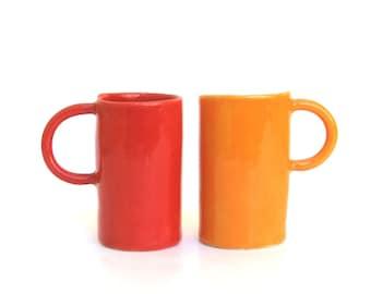 colorful porcelain hand built cups.   drinks for 2.   demitasse.   espresso.