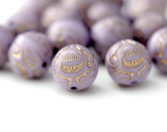 Purple Gold Etched Round Ornate Acrylic Beads 12mm (20)