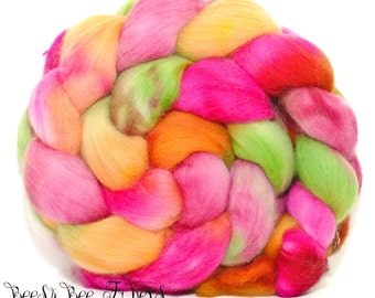 CHROMATOSE - Wool roving, hand dyed Organic Polwarth combed top, spinning or felting supplies - 4.1 oz