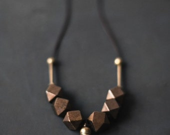 ON SALE Boho Necklace / Wooden necklace / Wood and Brass/  Brown Necklace