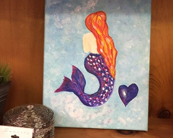 Red Hair Mermaid Camvas Acrylic Painting