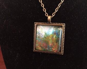 """Art Print Glass Pendant Vintage Bronze Necklace """"Klimt's Garden"""""""
