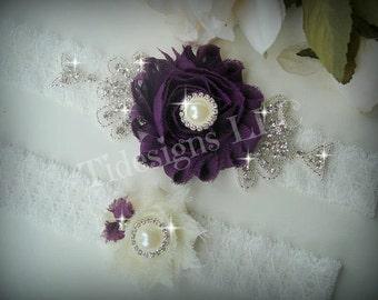 Eggplant Purple Garter Set, Dark Purple, Ivory Garter, Rhinestone garter,Vintage Inspired Garter Set, Purple Garter Set