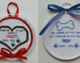 Pet Memorial Ornaments I - counted cross stitch chart - downloadable chart