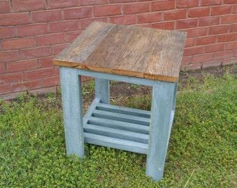 reclaimed wood end table side table industrial nightstand ecofriendly repurposed barn wood red oak