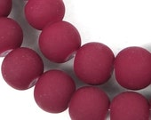 8mm Matte Frosted Neon Rubber Glass Round Beads - Maroon / Amaranth full strand (e7761)