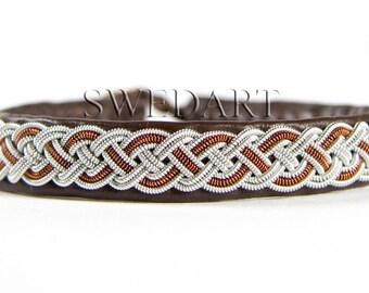 "SwedArt B02 Moose Swedish Reindeer Leather Sami Bracelet with Pewter Braid and Antler Button 3/8"" Wide Dark Brown MEDIUM"