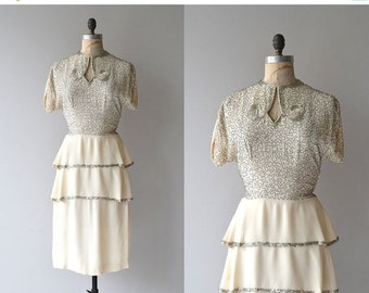 25% OFF.... Lux Eterna dress | vintage 1940s dress | beaded 40s dress