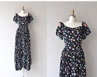 25% OFF.... Tiny Bubbles dress   vintage 1930s dress • long polka dot 30s dress