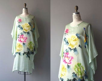 Yijun silk caftan dress | vintage floral silk caftan | silk floral chinoiserie dress