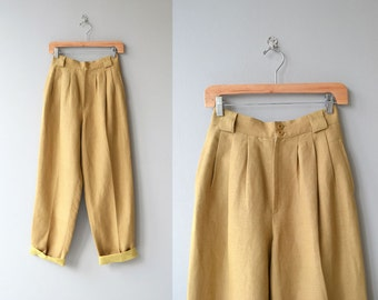 Giorgio Sant'Angelo trousers | 1980s linen pants | high waisted pleated linen trousers