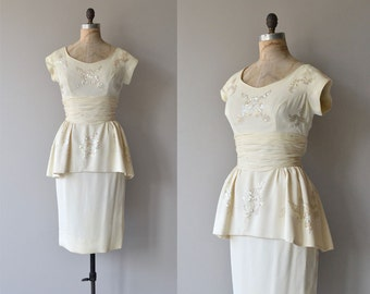 Tender Trap dress | vintage 1950s dress | 50s peplum cocktail dress