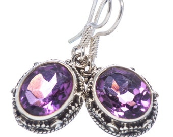 Natural Brazilian Amethyst Earrings: Faceted Ovals set in Silver Filigree Design
