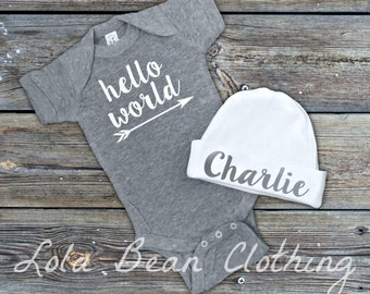 Baby Boy Coming Home Outfit Newborn Hello World Bodysuit Grey Custom Personalized Hat Beanie Take Home Outfit lolabeanclothing
