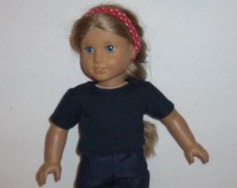 18 inch Doll Tshirt, Short Sleeve, Black Tee Shirt, Cotton T- Shirt, American Made, Girl Doll Clothes