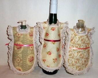 Dish Soap, Detergent Cover, Delicate  Roses, Eyelet Lace, Wine Bottle Apron, Cottage Chic, Vintage Look, Kitchen Decor