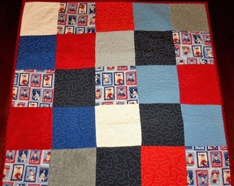Quilted Table Runner, Americana Baseball, Patrotic, 27x27 Inches, Square Table Topper, Sale Priced, Table Decor, Machine Quilted