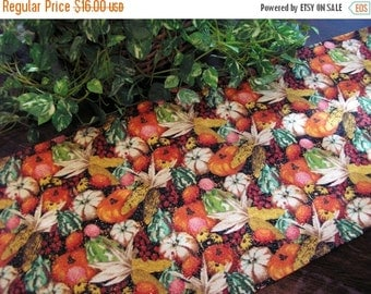 ON SALE Thanksgiving Table Runner Autumn Accents Glitter Padded