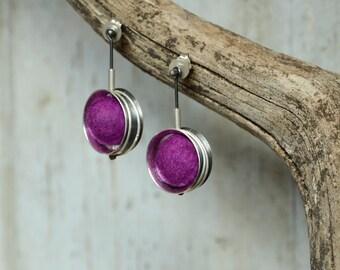 Modern Earrings Sterling Silver spinner ring earrings  hand crafted Felt and silver earrings dangle Earrings for Pierced ears