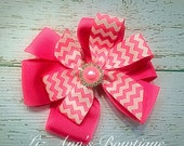 Pink Chevron bow children hair accessories boutique bow