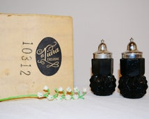 Salt & Pepper Shakers Tiara Black Diamond with Box