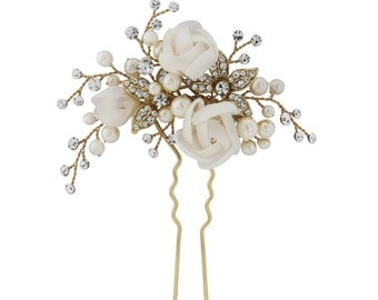 Gold wedding hair pin clip Vintage style roses wedding bridal pearl spray hair comb pin wedding hair accessories