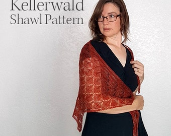 Knit Shawl Pattern - Kellerwald - Shawl Pattern - Adjustable Lace Pattern