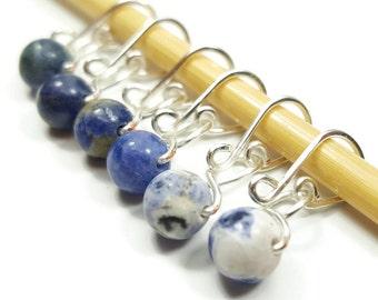 Locking Stitch Markers - Blue Sodalite Melody - Stitch Markers - Small, Medium, Large, or XL