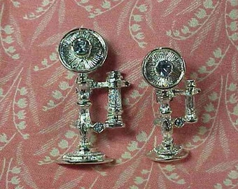 Vintage Gerry's Candlestick Telephone Graduated set of 2 Brooch pins