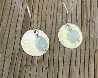 Earrings -hand textured 3/4 inch silver discs with blue chalcedony beads. Handmade jewelry gift for her earrings mothers day