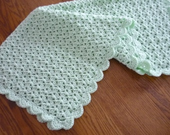 Crochet Baby Blanket Shell Stitch Crochet Crib Size Afghan - Baby Boy Baby Girl Blanket - Pale Green  - Direct Checkout - Ready to Ship