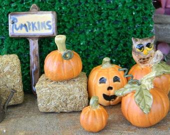 Pumpkin Sign Miniature  or Stack of Rock display or miniature Hay  Miniature Terrarium Fall decorations