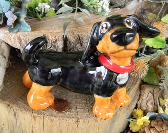 Dachshund figurine Statue  or Pet memorial - red doxie with a collar ring holder black & tan