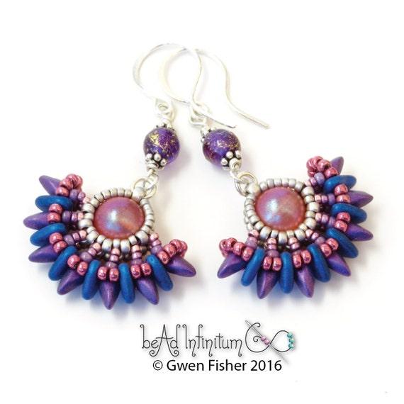 Solstice Beaded Earrings Purple Pink Blue Sterling Silver Black
