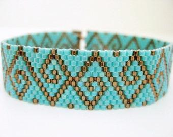 Swirls Peyote Bracelet  / Beaded Bracelet in Brown and Turquoise /  Seed Bead Bracelet /  Beadwoven Bracelet /  Geometric Bracelet