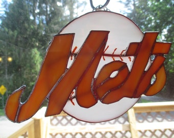 New York Mets Stained Glass Plaque