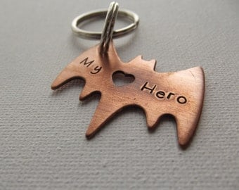 Bat Hero Keychain with heart cut out, My Super Hero, BFF gift, Boyfriend gift, Caped Hero,  Super Dad Keychain, Ready to ship