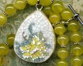 Lemon Jade Necklace with Big Antique English Porcelain Pendant Pendant OOAK, Yellow Rose Necklace, Flower Necklace, Yellow Mum Necklace