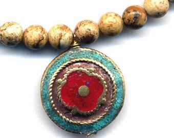 Nepalese Lapis and Turquoise Mandala Pendant, Tibet Mandala Pendant on Jasper Necklace, Ethnic Necklace Handmade Nepal Jewelry