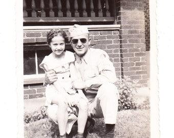 Daddys Girl vintage Photo 1944 snapshot Little Girl Military Man WW2 Soldier