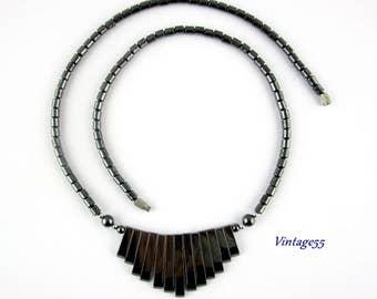 Hematite Fringe beaded Necklace Black