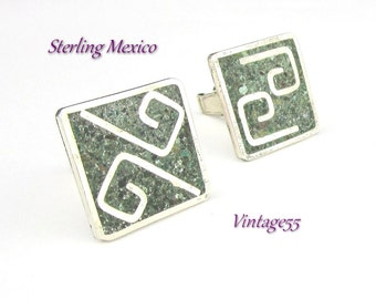 Cuff links Sterling Mexico Turquoise Alpaca Vintage