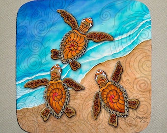 3 Baby Turtles Coaster Set of 4