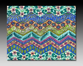 Tropical Patterns Ceramic Tile Wall Art