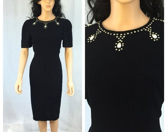 Vintage Little Black Dress. Short Sleeve Classic Cocktail Dress. Liz Claiborne. Size 4. Small. Pearl Cabochons. Silver Studs. 1980s.