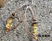 Gold Foil Earrings with Copper and Sterling Silver