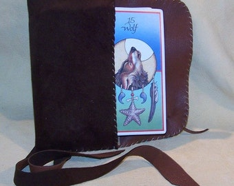 Brown Leather Tarot Bag...Suede
